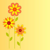Flower Illustration on Yellow Background. Yellow and orange sunflowers illustrations on yellow background, flora, nature, flower card, green leaves, plants Royalty Free Stock Photography