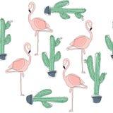 Tropical Flamingo Bird and Cactus Background. stock illustration