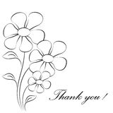 Flower Illustrations, Thank You Card. Black and white flowers on white background, flower card, thank you card, flora, nature, plants, flower bouquet Royalty Free Stock Photo