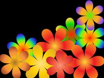 Flower imagination. The scattered multi-coloured flowers on a black background Stock Photo