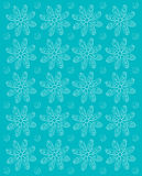 Flower Impression Aqua. Background image is aqua and stamped rows of white daisies.  Whispy polka dots fill space between flowers Stock Photography