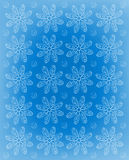 Flower Impression Frosted Blue. Background image is blue with rows of soft, white daisies.  Whispy polka dots fill space between flowers and white vignette Royalty Free Stock Photo