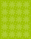 Flower Impression Olive Green. Background image is olive green and stamped rows of white daisies.  Whispy polka dots fill space between flowers Stock Photography