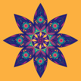 Flower Indian Pattern. Flower blue and orange with Indian pattern design. Ornate, decorative, detailed design. Ideal for card, invitation, print. EPS file Stock Photo