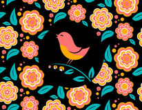 Flower invitation card  with bird singing and. Seamless pattern on black background Royalty Free Stock Photo