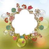 Flower Invitation Card, Floral Frame with Ribbon Stock Image
