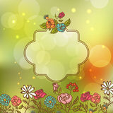 Flower Invitation Card, Floral Frame with Ribbon Royalty Free Stock Photo