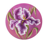 Flower of iris drawing by watercolor, hand drawn illustration. Royalty Free Stock Images