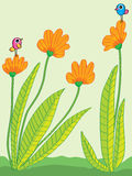 Flower isolated compare abstarct. Illustration abstract flowers isolated flower cartoon birds green background Stock Images