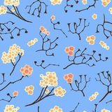 Flower Japanese Pattern Seamless With Random Branch Style. Flower Japanese Pattern Seamless With Blue Background Stock Photos
