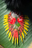 Flower jewel. Pendant from Papua with yellow, grenn and red flowers Royalty Free Stock Images