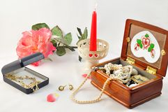 Flower and jewellery Royalty Free Stock Photo