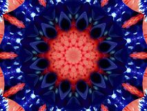 Flower kaleidoscope pattern abstract background. Red blue navy abstract fractal kaleidoscope background. Floral abstract fractal p. Attern geometrical Royalty Free Stock Images