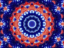 Flower kaleidoscope pattern abstract background. Red blue navy abstract fractal kaleidoscope background. Floral abstract fractal p. Attern geometrical Stock Images