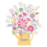 Flower kettle. Vector illustration of flowers in a vintage kettle on  background Royalty Free Stock Image