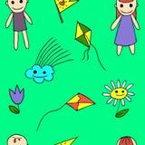 Flower, kite flying, cloud, boy, girl Royalty Free Stock Photo