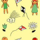 Flower, kite flying, cloud, boy, girl3 Stock Image