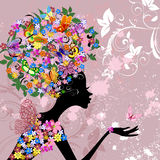 Flower lady with butterflies Royalty Free Stock Images