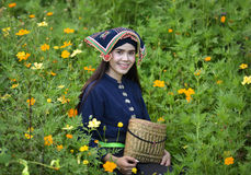 Flower Lady. Happy Girl Asian style in dress native Local Stock Photos
