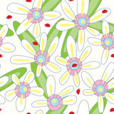Flower Ladybird Seamless Pattern_eps. Illustration of pastel colors flower and ladybird seamless pattern Stock Photography