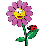Flower and ladybug Stock Photo