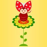 Flower and Ladybug Illustration Royalty Free Stock Photography