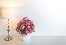 Flower with Lamp on table Stock Photography