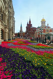 Flower landscaping on Nikolskaya Street in historic center of Mo Stock Photos