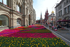 Flower landscaping on Nikolskaya Street in historic center of Mo Royalty Free Stock Photo