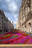 Flower landscaping on Nikolskaya Street in historic center of Mo Royalty Free Stock Image