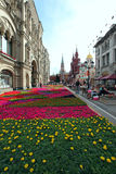 Flower landscaping on Nikolskaya Street in historic center of Mo Stock Images