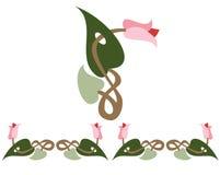 Flower and leaf. Pink tulip postmodern motif decoration Stock Images
