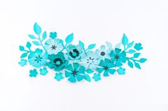 Flower and leaf of blue color made of paper royalty free stock photography