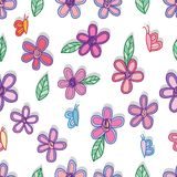 Flower leaf butterfly doodle style seamless pattern. This illustration is design and drawing flower, leaf and butterfly doodle style in seamless pattern on white stock illustration