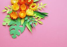 Flower and leaf color made of paper craft