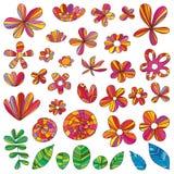 Flower leaf decor color set Stock Images
