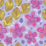 Flower leaf diagonal seamless pattern. This illustration is design and drawing flower leaf diagonal with purple background and  seamless pattern Stock Photos