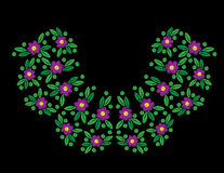 Flower with leaf and dot embroidery stitches imitation on the bl royalty free illustration