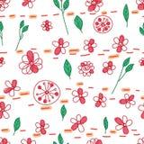Flower leaf drawing pastel dot line horizontal seamless pattern stock illustration