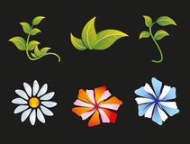 Flower and Leaf Icon Set Royalty Free Stock Photos