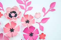Flower and leaf pink and black color made of paper stock photo