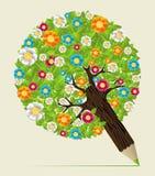 Flower leaves concept pencil tree vector illustration