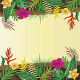 Flower and leaves with copy space background. Flower and leaves with copy space background, vector illustration Stock Photography