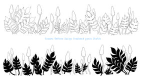 Flower and leaves pattern design Royalty Free Stock Photos