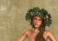 Flower leaves wreath woman portrait Stock Images