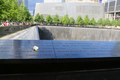 Flower left at the National 9 11 Memorial at Ground Zero in Lower Manhattan Royalty Free Stock Images