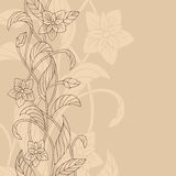 Flower left side beige brown pattern abstract background illustration Royalty Free Stock Image