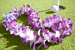 Flower Lei On Putting Green - Golf Vacation Royalty Free Stock Images