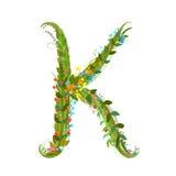 Flower letter K calligraphy floral elegant decorative alphabet Stock Photography