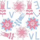 Flower and letters seamless pattern. It is located in swatch men Royalty Free Stock Images